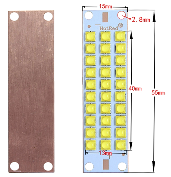 100W warm white LED array on copper PCB