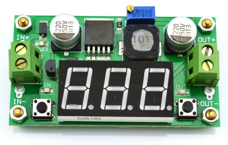 DC-DC buck converter with inbuilt red LED voltmeter