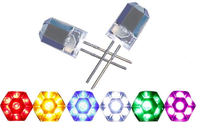8mm hexagonal faceted decorative LED - blue