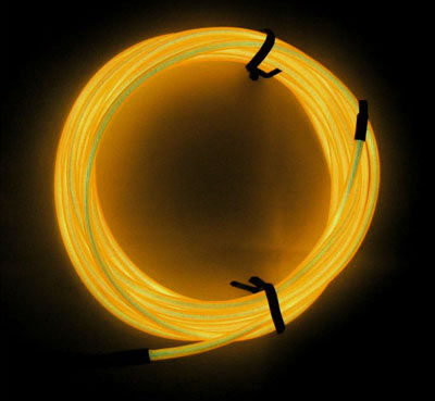 3 metre AA battery powered EL wire kit - yellow