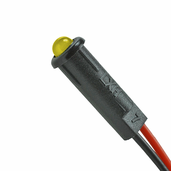 Lumex 5V 3mm yellow standard brightness prewired LED with holder