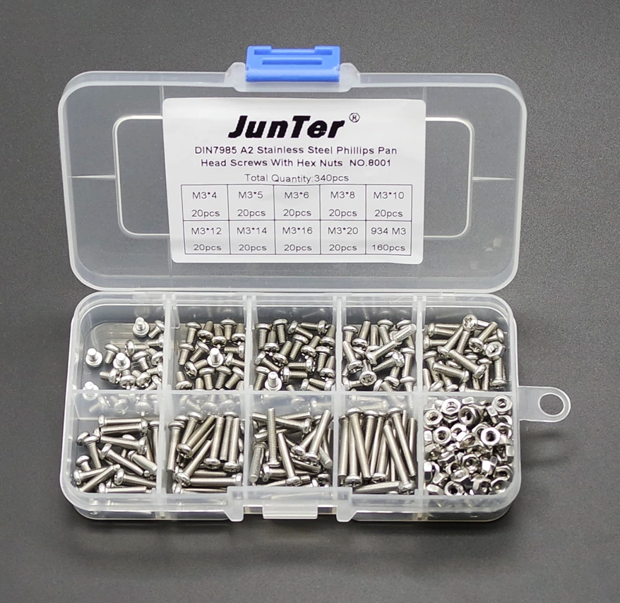 M3 stainless steel pan head screw and nut kit